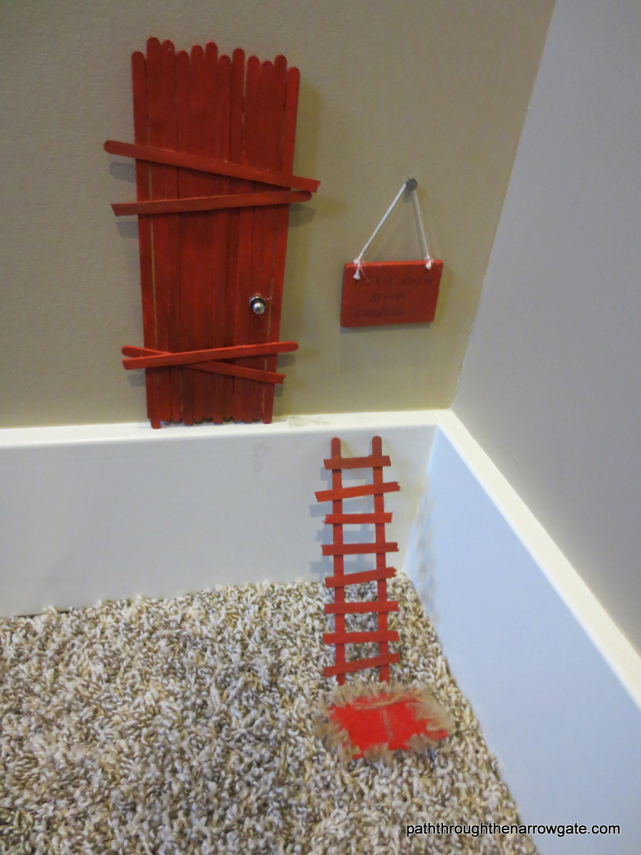 Little People Door with red ladder - made of little popsicle sticks!