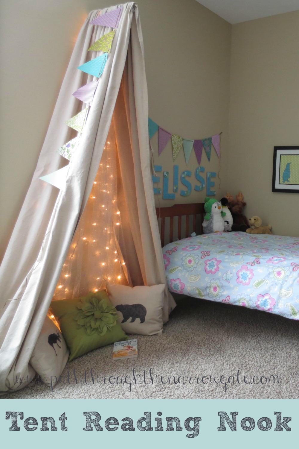 "Would you love to make your kids tent reading nook, but are short on space? This ""tent"" is exactly what you need! Simple to make, this wall mounted tent has tons of personality and is a fun addition to any child's room."