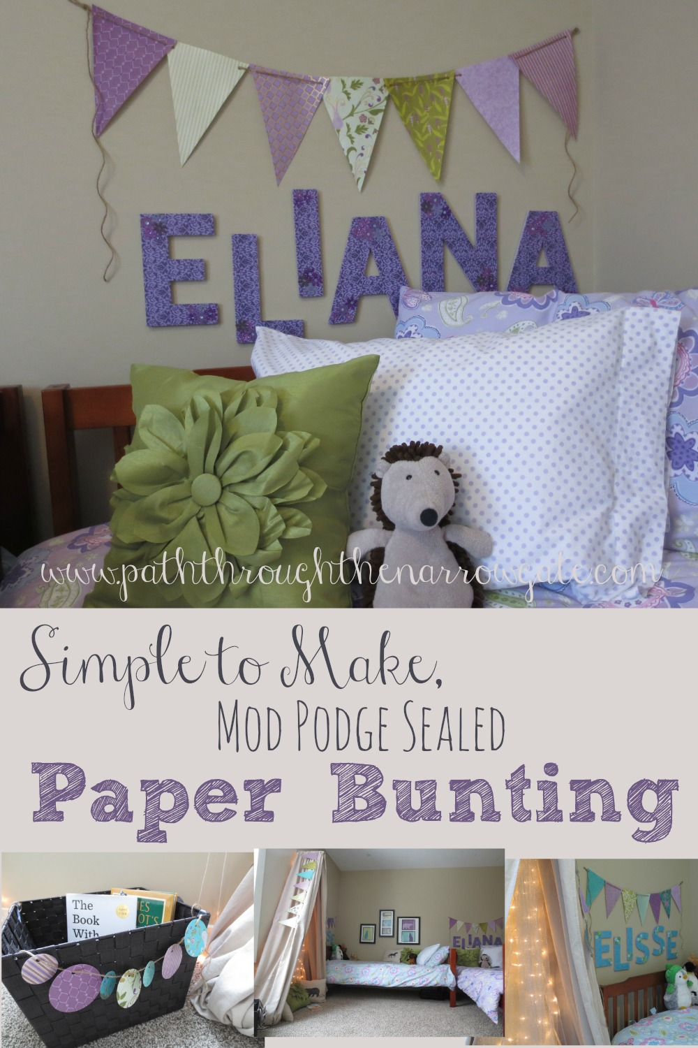 Scrapbook Paper Bunting is a simple and inexpensive way to add personality to your child's bedroom. Sealing the paper with Mod Podge gives the paper the texture of wall-paper and will help it to be more durable.