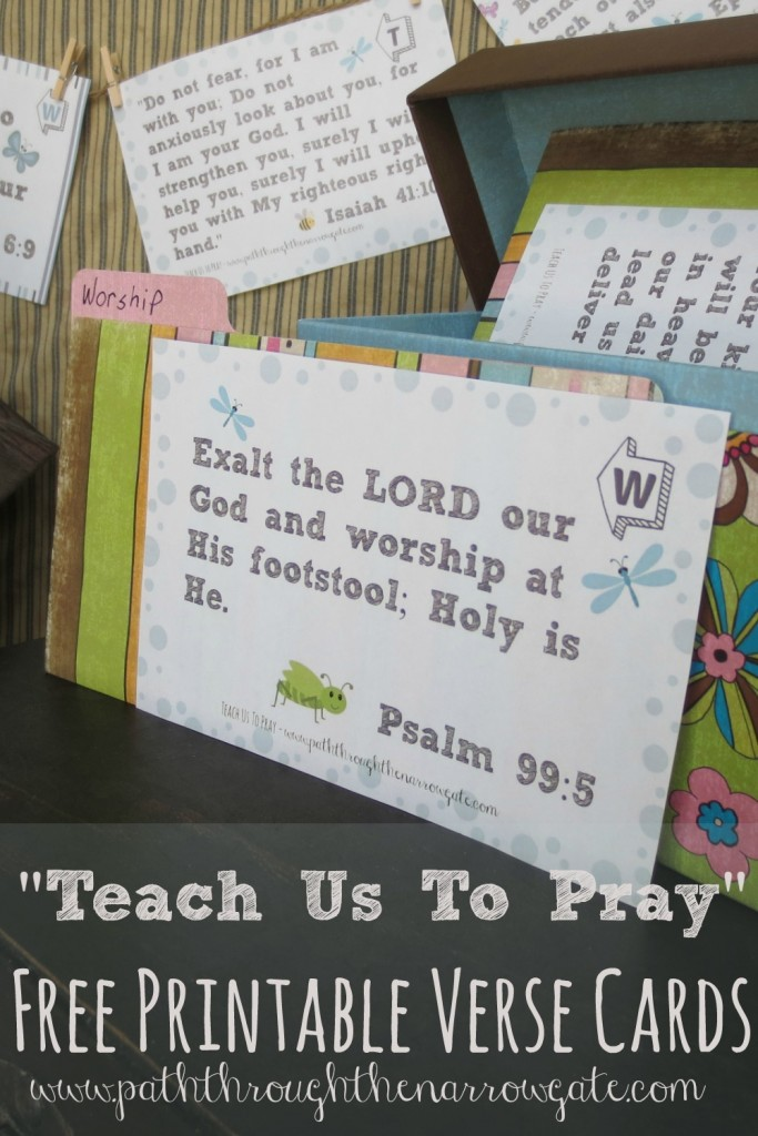 Free printable verse cards to teach young children about prayer- these adorable cards teach kids to worship, make petitions, give thanks, and ask forgiveness, all based on Bible verses.