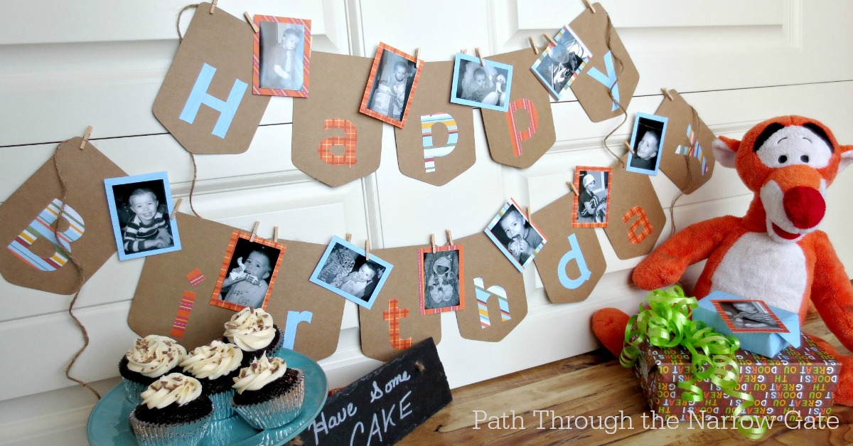 diy photo birthday banner
