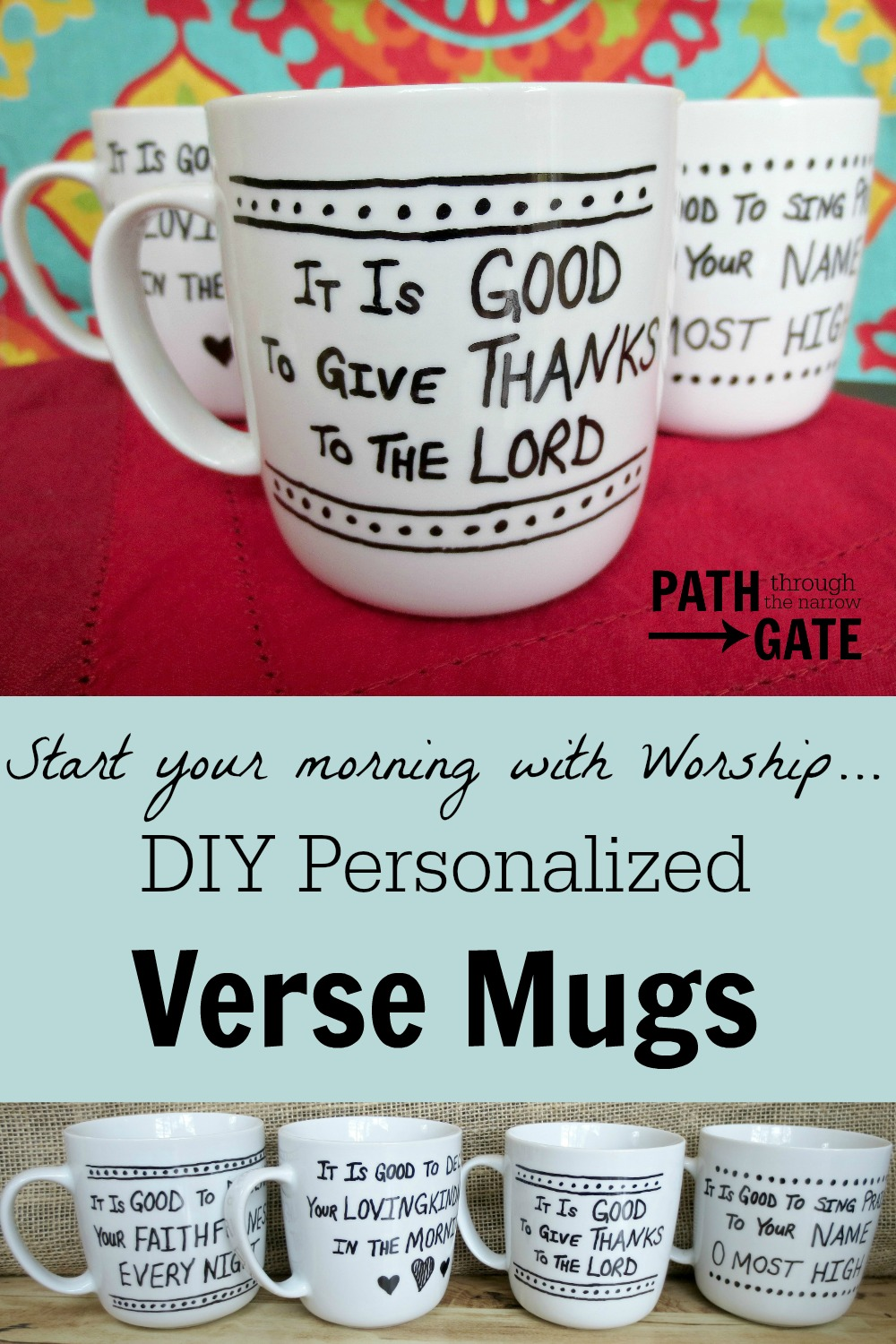 Start your morning off right - with a reminder to worship God for His goodness from these DIY Personalized Coffee Mugs.