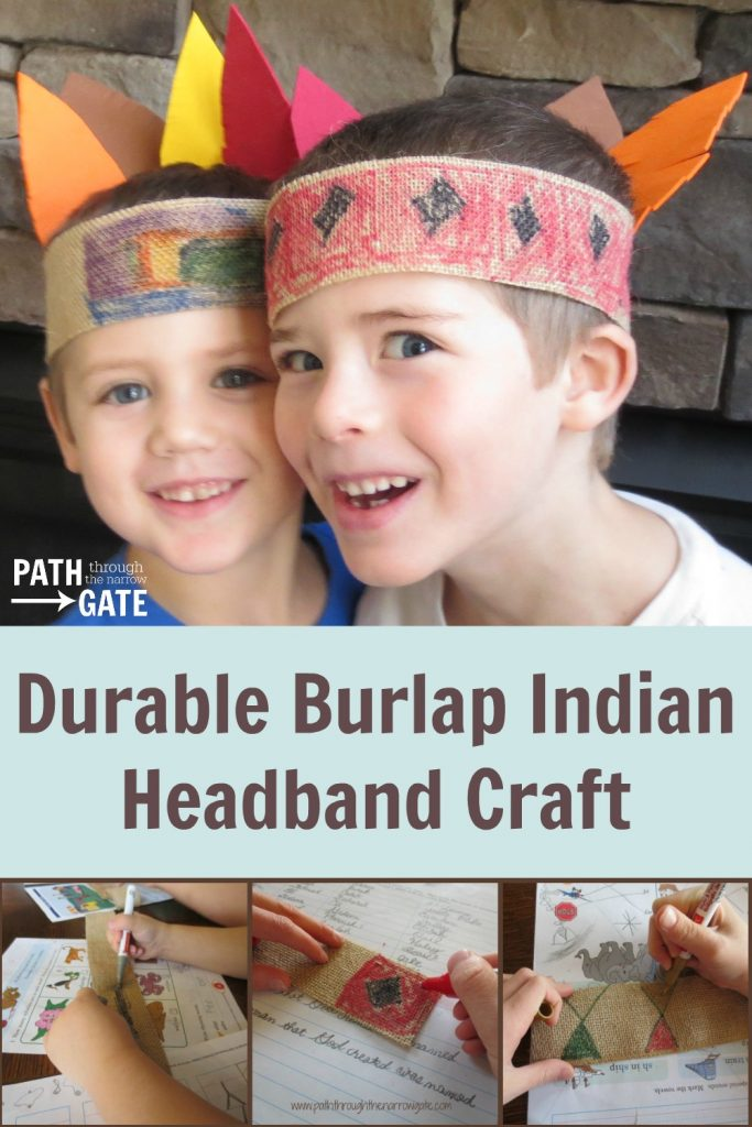 Perfect for Thanksgiving, or everyday dress up play, this durable Burlap Indian Headband is fun to make and even more fun to play with. Encourage your kids to make their own today!