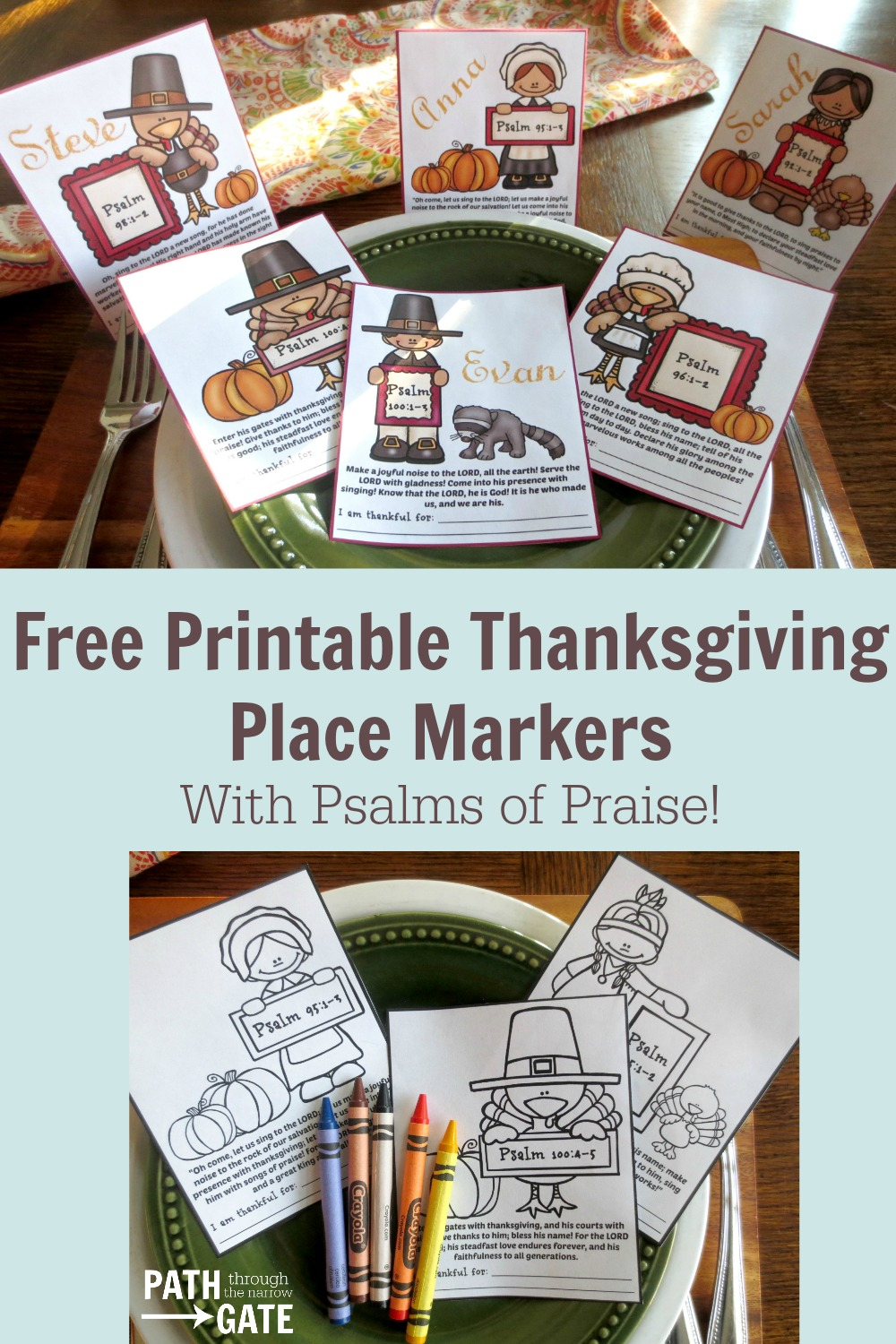 Are you looking for a way to add some verses of Thanksgiving to your holiday table? These adorable Printable Thanksgiving Place Holders are just the ticket! They come in three different Bible versions. My kids would love coloring these on Thanksgiving!