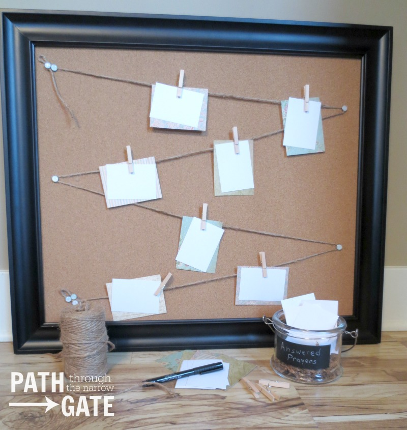 Keep track of your prayer requests with this simple to make prayer board|PathThroughTheNarrowGate.com