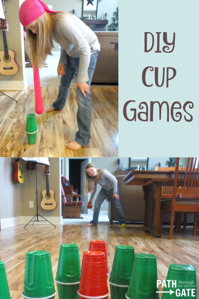 Get your kids active and laughing with these simple to make plastic cup bowling pins. They are great for two active indoor games, perfect for winter play.