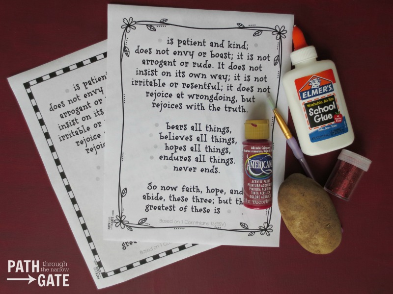 These printables can be used in several different ways to create a 1 Corinthians 13 Craft, perfect for Valentine's Day.