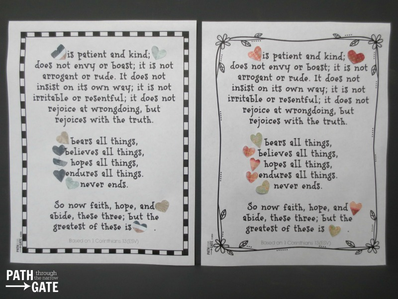These printables can be used in several different ways to create a 1 Corinthians 13 Craft, perfect for Valentine's Day.|Path Through the Narrow Gate
