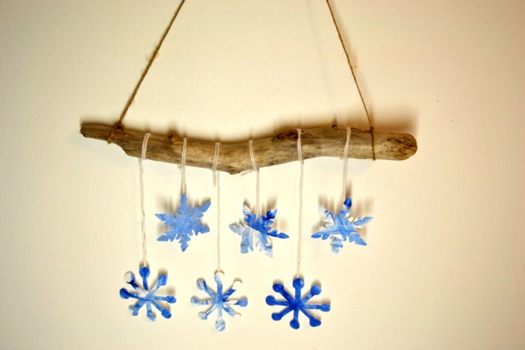 watercolour snowflake mobile