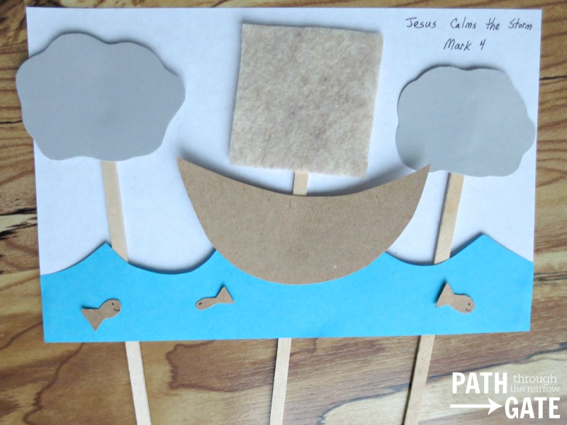 Jesus Calms the Storm Activity/Craft is perfect for teaching young children at church, home, or school. Path Through The Narrow Gate.com