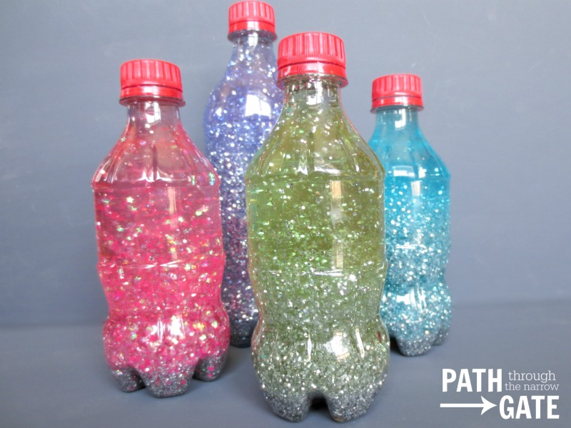 Church Quiet Bag Glitter Bottles A small glitter bottle is a perfect way to keep young children mesmerized during a church service, long car ride, or even at a doctor's office. PathThroughTheNarrowGate.com
