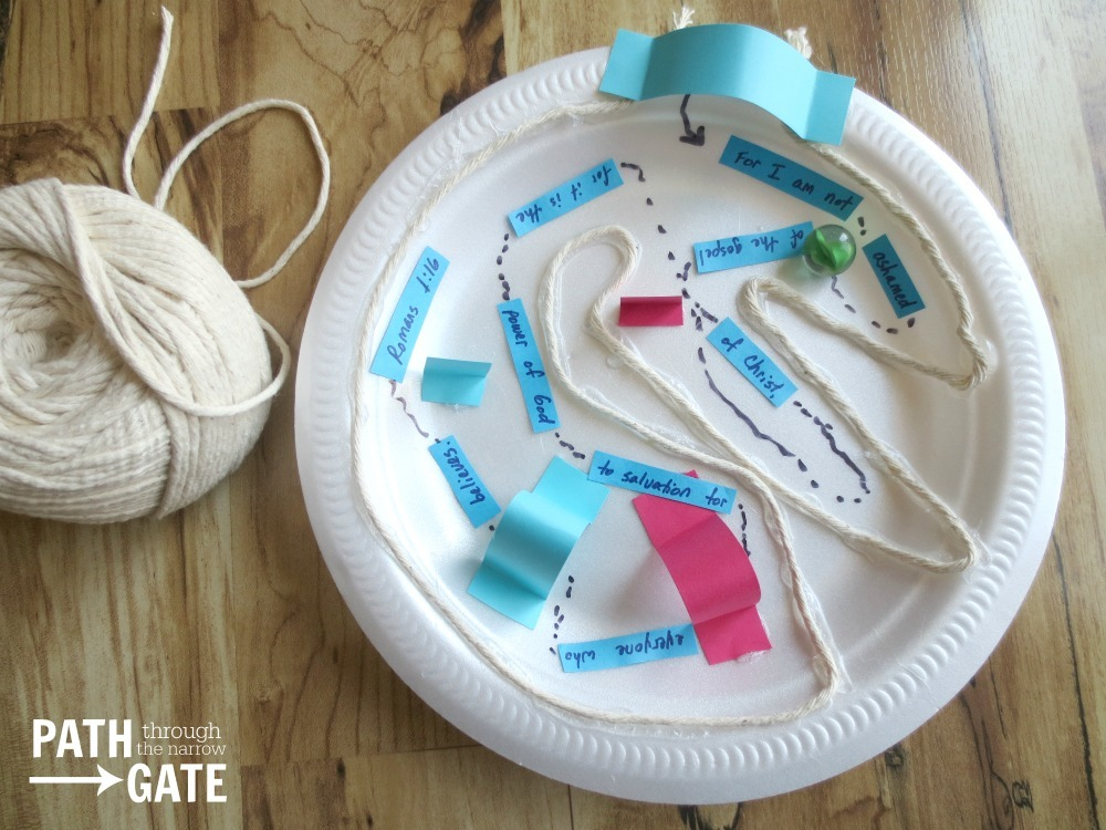 Paper Plate Marble Maze Directions & Bible Verse Marble Maze - Path Through the Narrow Gate