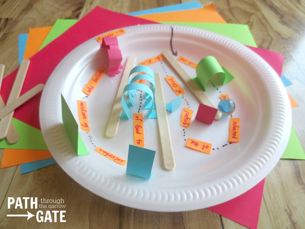 Help the kids glue or tape the objects to the marble maze. Hot glue works great for this but would not be practical for a large group of kids (and should ... & Bible Verse Marble Maze - Path Through the Narrow Gate