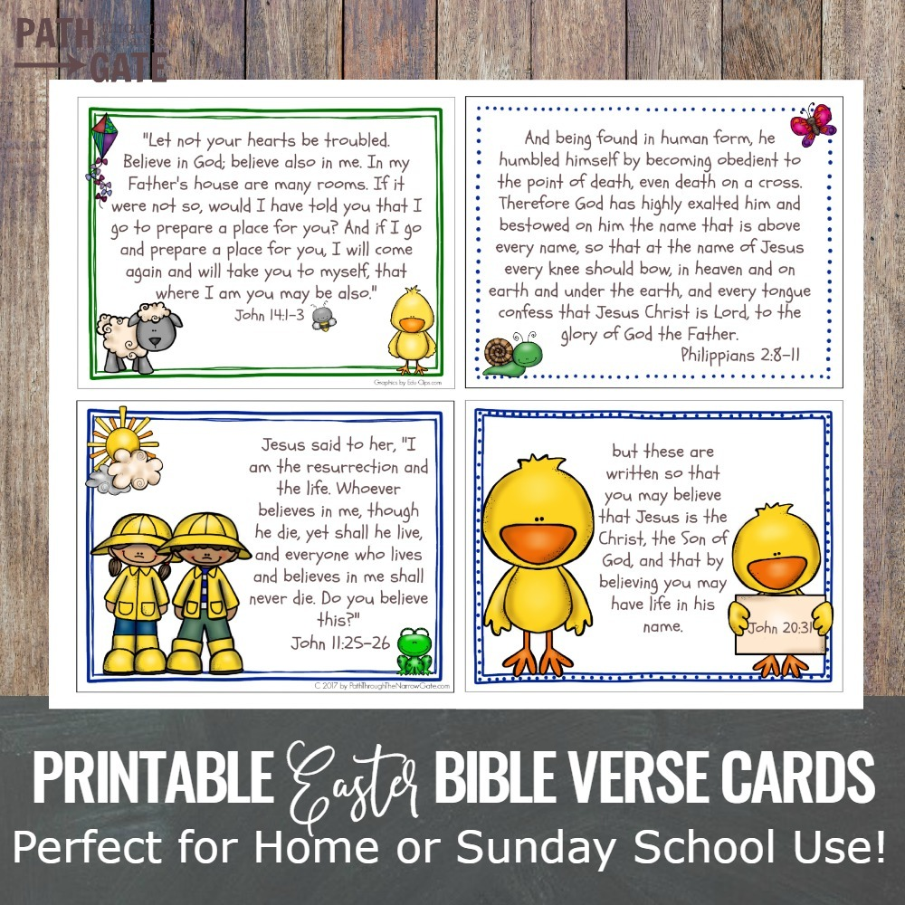 Easter Bible Verse Cards Set - Path Through the Narrow Gate