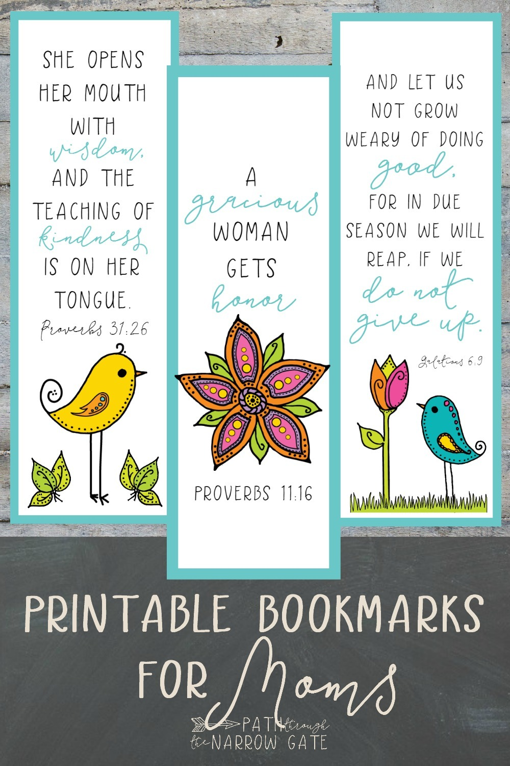 These printable bookmarks for moms would be perfect for my Sunday School students to make for Mother's Day! I love that they come in three different Bible versions, too.