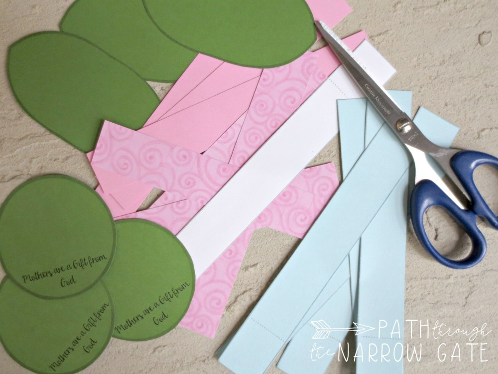 Mothers day paper flower craft path through the narrow gate pointed ovals will make the leaves the small circle will be the flower center and the large circle will be the base do not cut on the dotted lines mightylinksfo