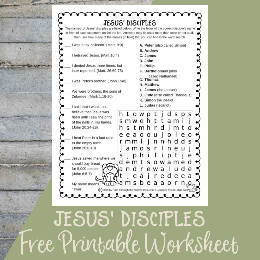 graphic regarding Free Printable Pictures of Jesus referred to as Jesus Disciples Worksheet - Way For the duration of the Slim Gate