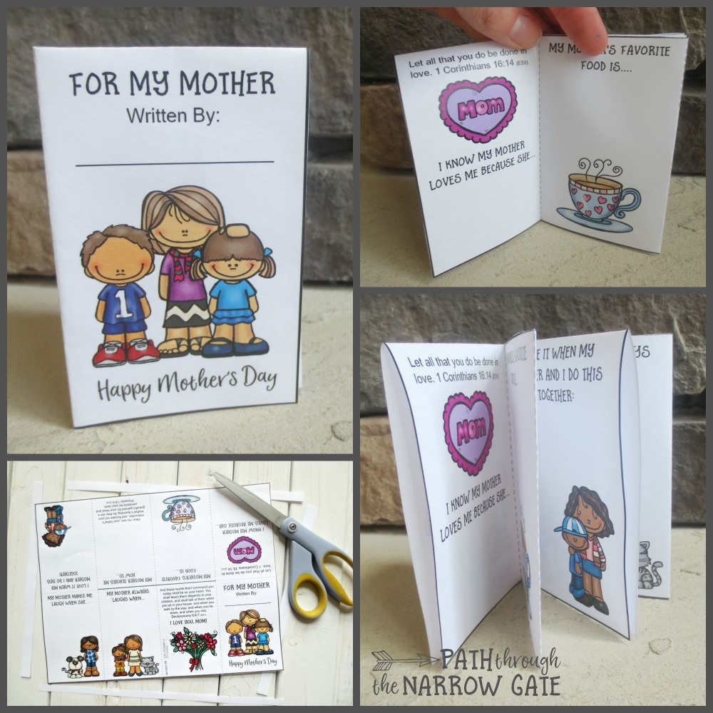 This fun little printable Mother's Day mini book is perfect to make in Sunday School or at home. This one page printable can be cut and folded into a multi-page book. Your kids will love finishing the sentence prompts and giving the book to their moms.