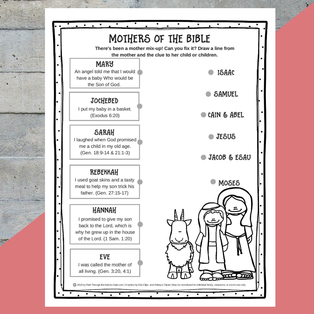 Printable Mothers of the Bible
