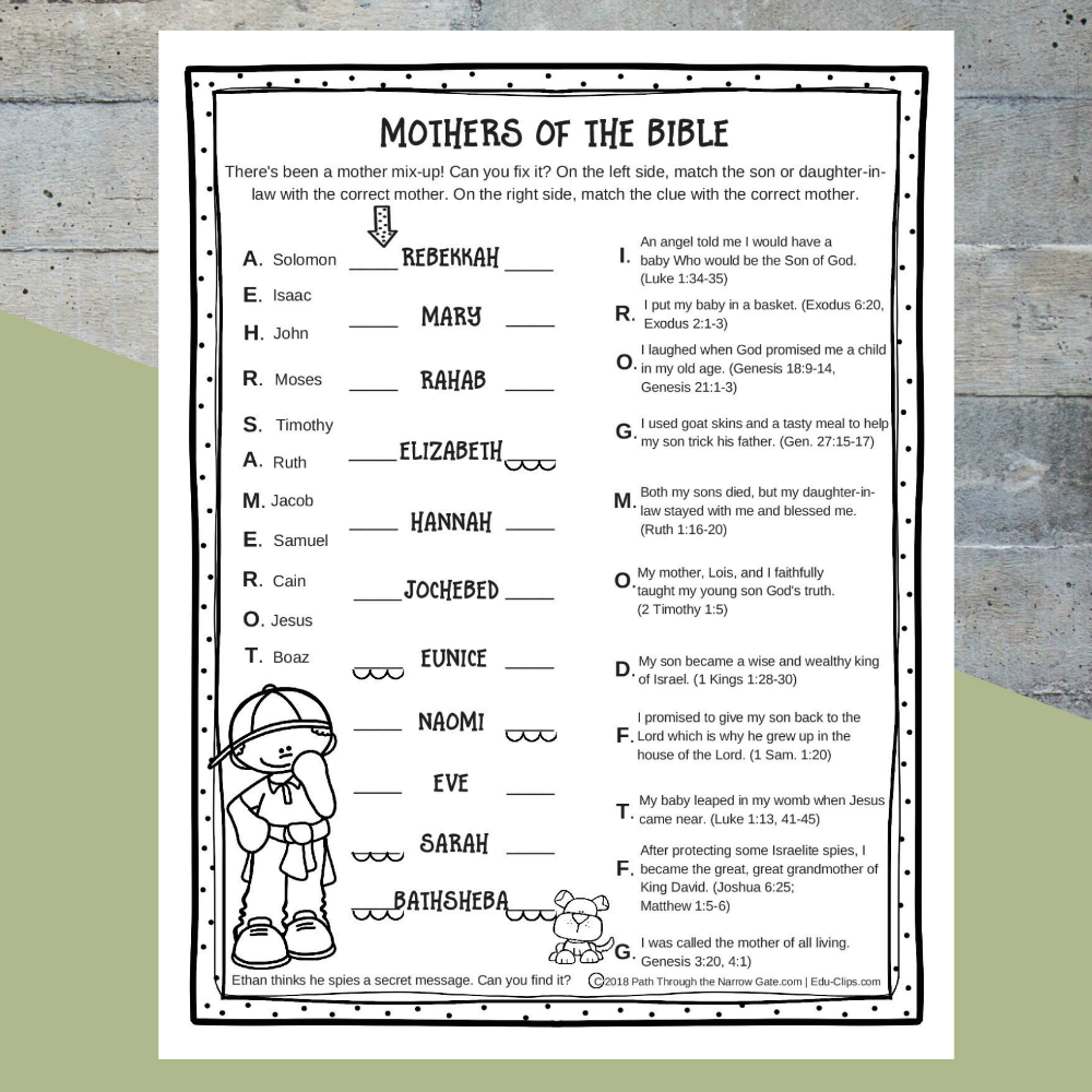 There's been a great mother mix-up. Can your kids solve it? Find out how much your kids know about the mothers of the Bible with this free mothers of the Bible worksheet - perfect for a rainy day at home, a road trip, a last minute Sunday School activity, or to include with the church bulletin on Mother's Day.