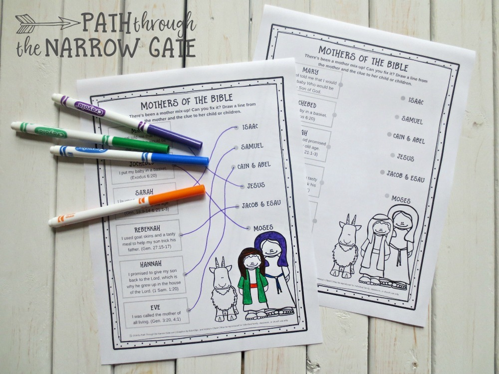 Drawing Lines Worksheet : Printable mothers of the bible worksheet path through narrow