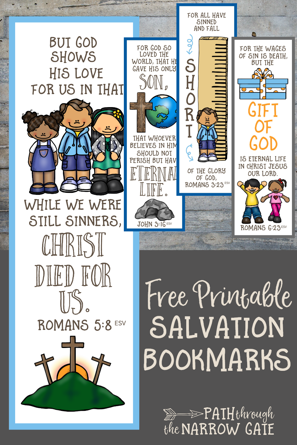 graphic regarding Romans Road Bookmark Printable known as Printable Salvation Bookmarks - Way All through the Slender Gate