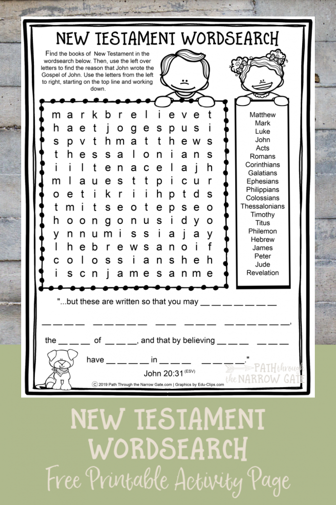 This free printable New Testament wordsearch is perfect for kids learning the books of the New Testament - and it includes a hidden message at the bottom.