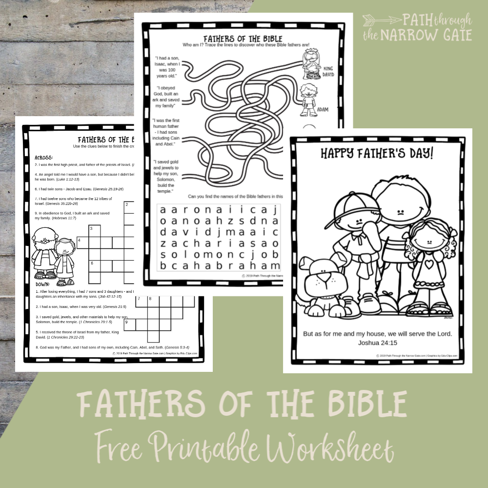 Help your kids celebrate Father's Day with these free printable Father's Day Activity Pages featuring famous fathers from the Bible.