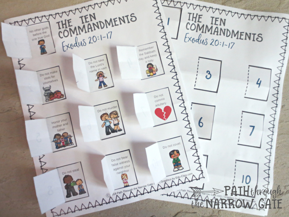 photograph relating to 10 Commandments for Kids Printable known as 10 Commandments Printable Craft - Way During the Slender Gate