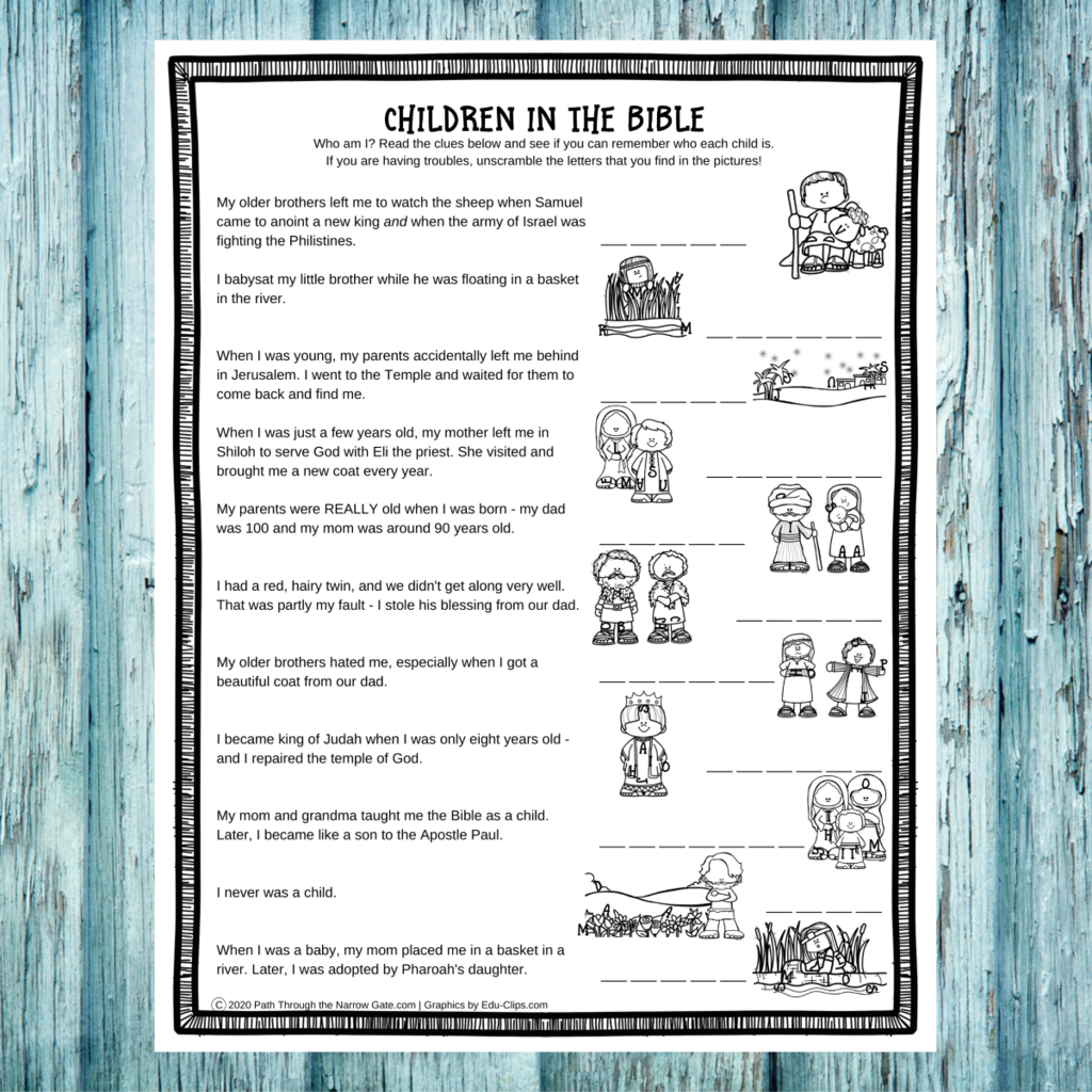 These Children in the Bible Activity Pages are great to have on hand for a last minute Sunday School activity, or for your own kids. Free Printables!