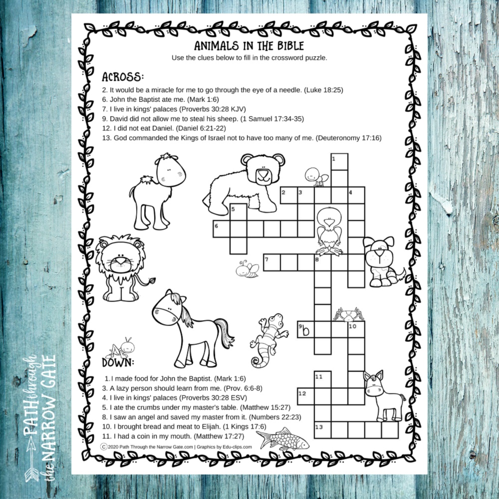How much do you and your kids know about animals in the Bible? These Animals in the Bible Activity Pages will test your kids' knowledge with fun word clues and adorable animal pictures.