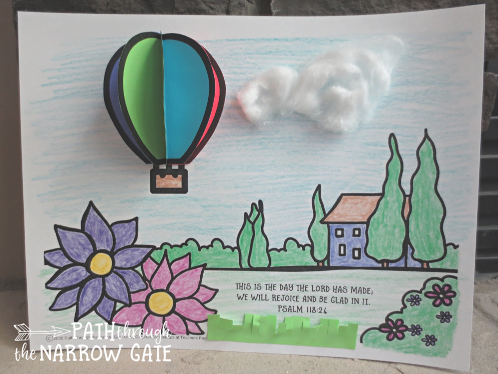 This Hot Air Balloon Craft is a perfect way to remind your kids that this is the day that the Lord has made! It is great for Sunday school or any day.