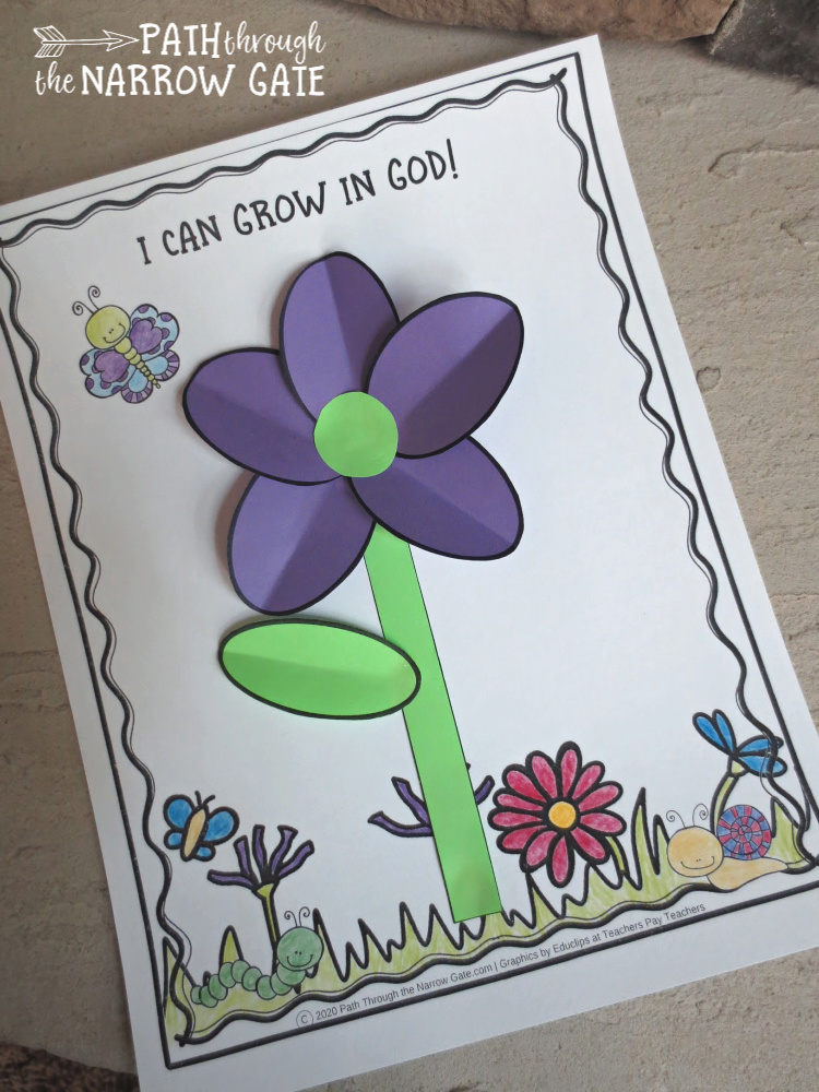 """Remind your kids that they can """"grow in God"""" - with this adorable printable flower craft, perfect for Sunday school, Christian school, or home use!"""