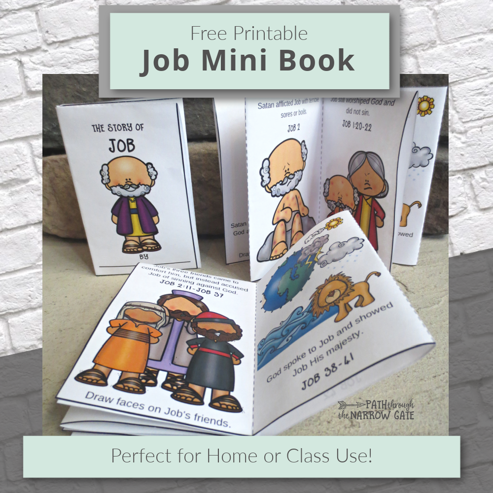 Help your kids learn the story of Job with this fun printable Job mini book - Easy to make from one piece of paper! Perfect for home or class. | Path Through the Narrow Gate